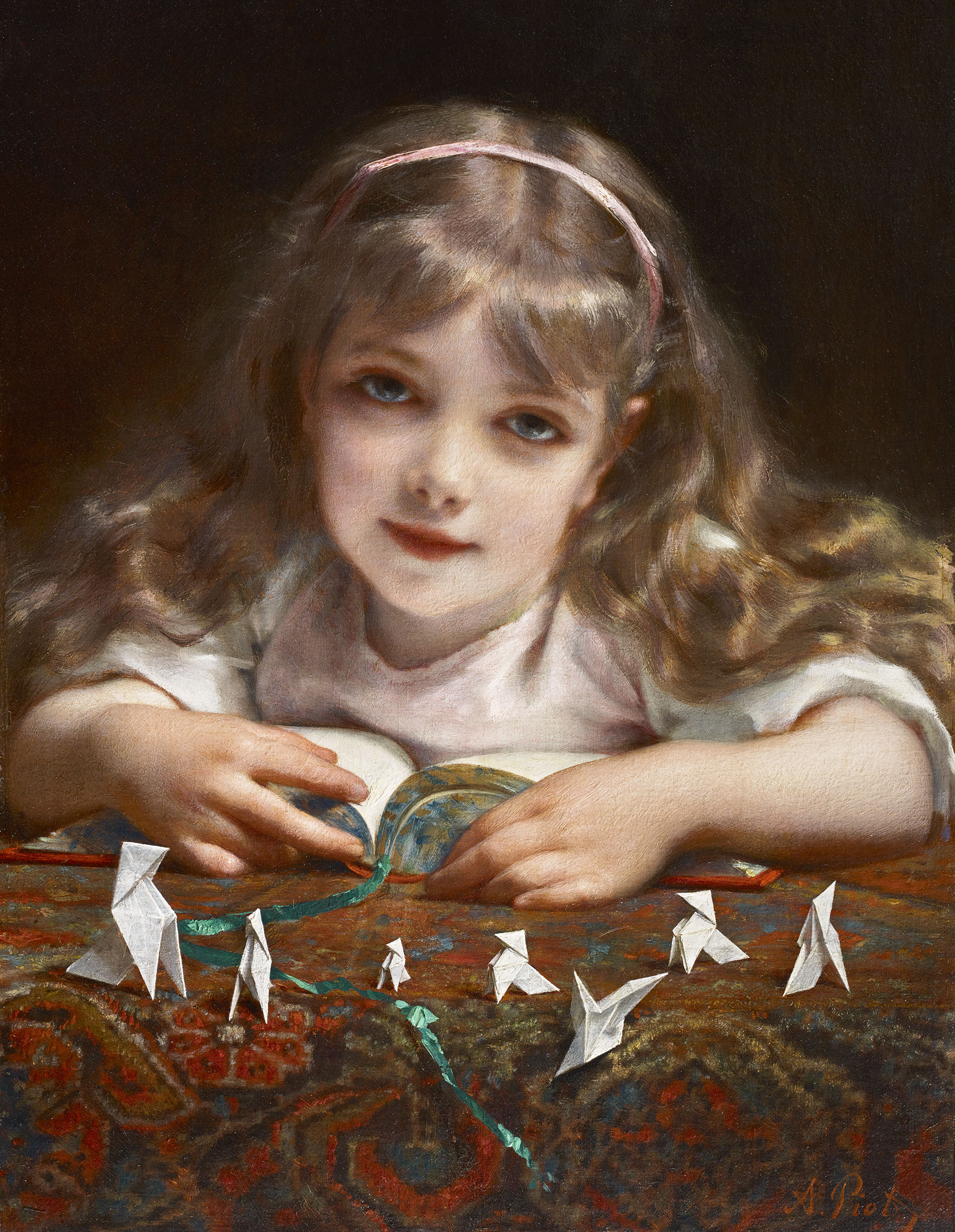 Une petite fille sur un tableau d'Adolphe Etienne Piot