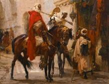 Cavaliers au bazaar du Caire, Egypte