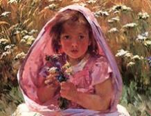 Petite fille dans un champ d'orge