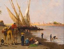 Felouques et Chameliers au bord du Nil